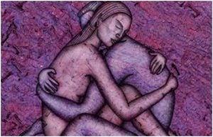 ذوجان يحتضنان بعضهما مع نشوة هرمون الحب
