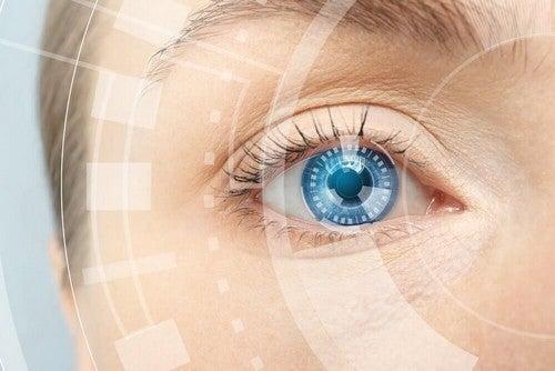 عين زرقاء صحية
