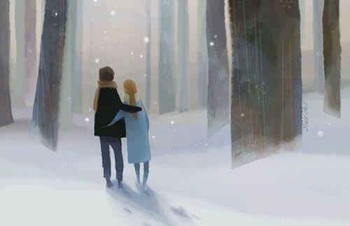 رجل وإمرأة يسيران معًا