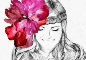 وردة في الشعر في لمحة من البساطة
