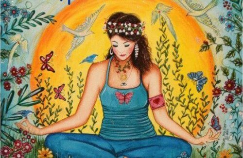 سيدة تجلس بين الزهور والفراشات