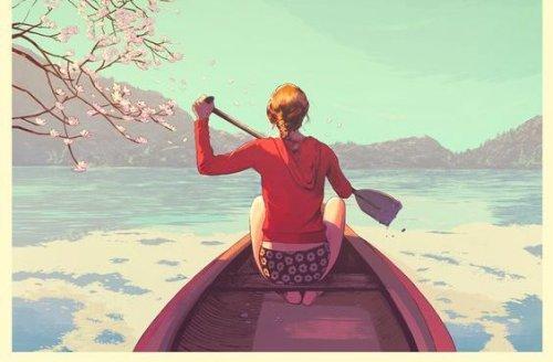 امرأة في قارب