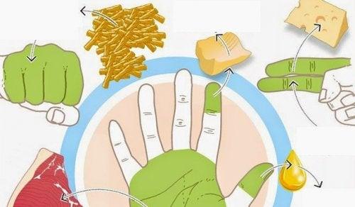 كمية الطعام - استخدم يديك لقياس كمية الطعام التي يجب عليك أن تتناولها