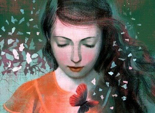 امرأة وفراشات