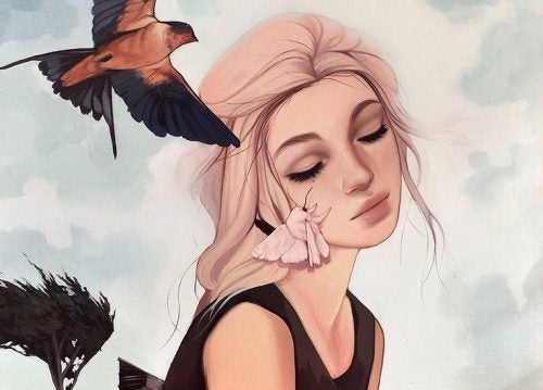 فتاة فوق رأسها عصفور