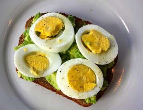 بيضة مسلوقة وخبز مع الأفوكادو