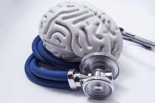 مخ بلاستيك حوله سماعة طبية
