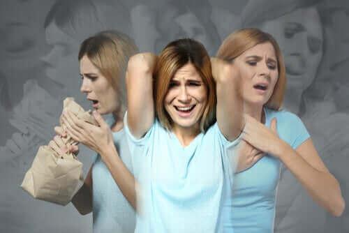 مشاكل الهضم - سيدة تعاني من نوبة قلق