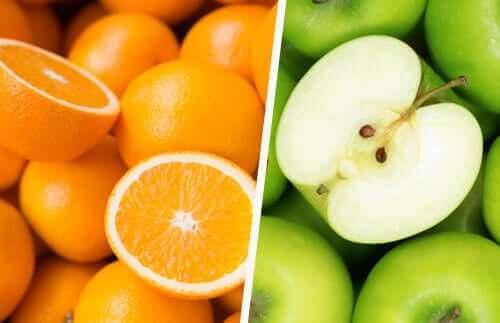 برتقال وتفاح أخضر