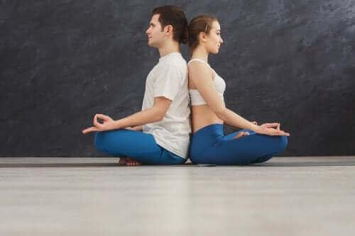 زوجان يمارسان اليوجا