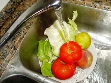 غسيل الخضار والفواكه وتوفير المياه