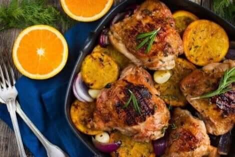 دجاج بالبرتقال والعسل